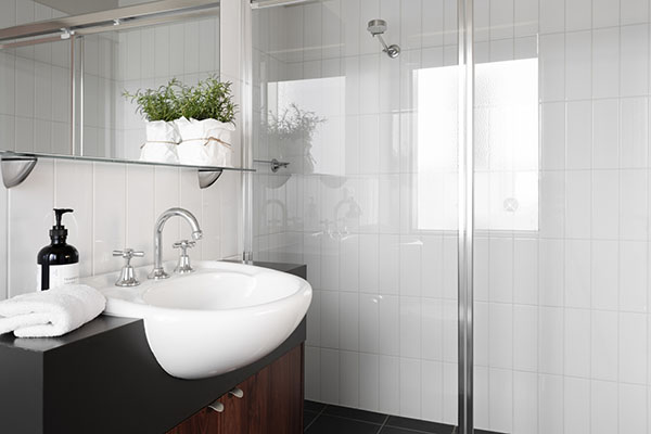 West Elm bathroom Sambuca apartments luxury accommodation mt hotham