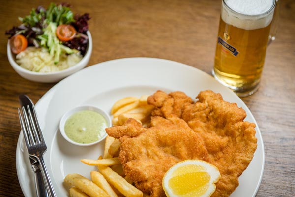 Schnitzel, Chips, Salad and Beer